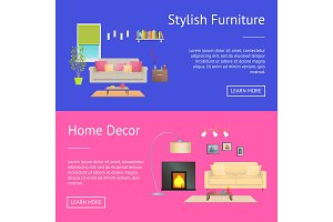 Stylish Furniture Home Decor Vector Illustration