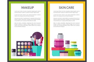 Makeup and Skin Care Cards Vector Illustration