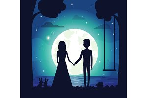 Silhouette of Couple at Night Vector Illustration