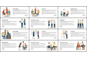 Set of Office Work Strategy Teamwork Bright Cards