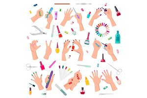 Nail Service Collection Poster Vector Illustration