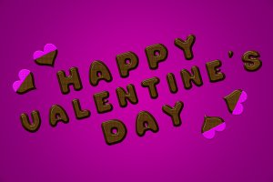 Happy valentine's day letters chocolate pink