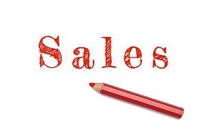 Sales sketch red pencil