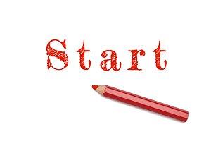 Start sketch red pencil