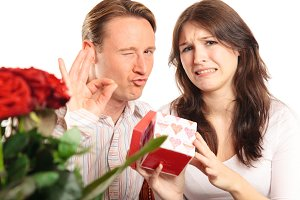 Valentine's Day Couple Exchanging Gifts