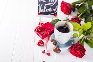 Valentine coffee with roses