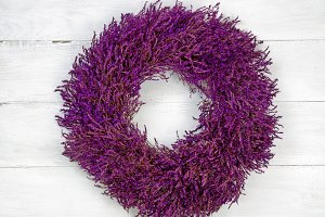 Lavender Wreath on White Wood