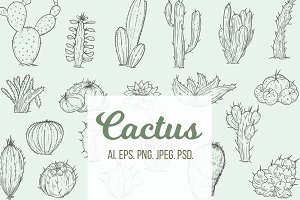 Set of hand drawn cactuses