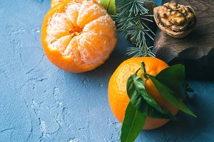 Tangerines winter still life