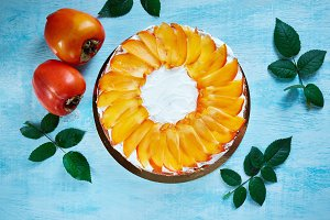 cottage cheese pie with persimmon