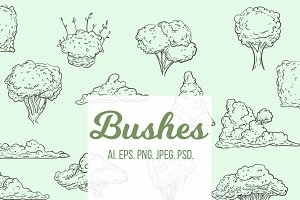 Set of hand drawn bushes