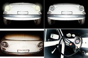 Old italian car Fiat 500 - pack 4 ph