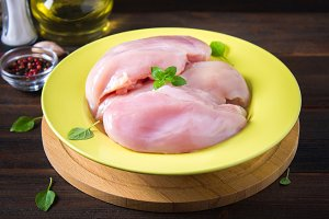 Raw chicken fillet and green salad in a yellow bowl on the background of a wooden table. Meat ingredients for cooking.