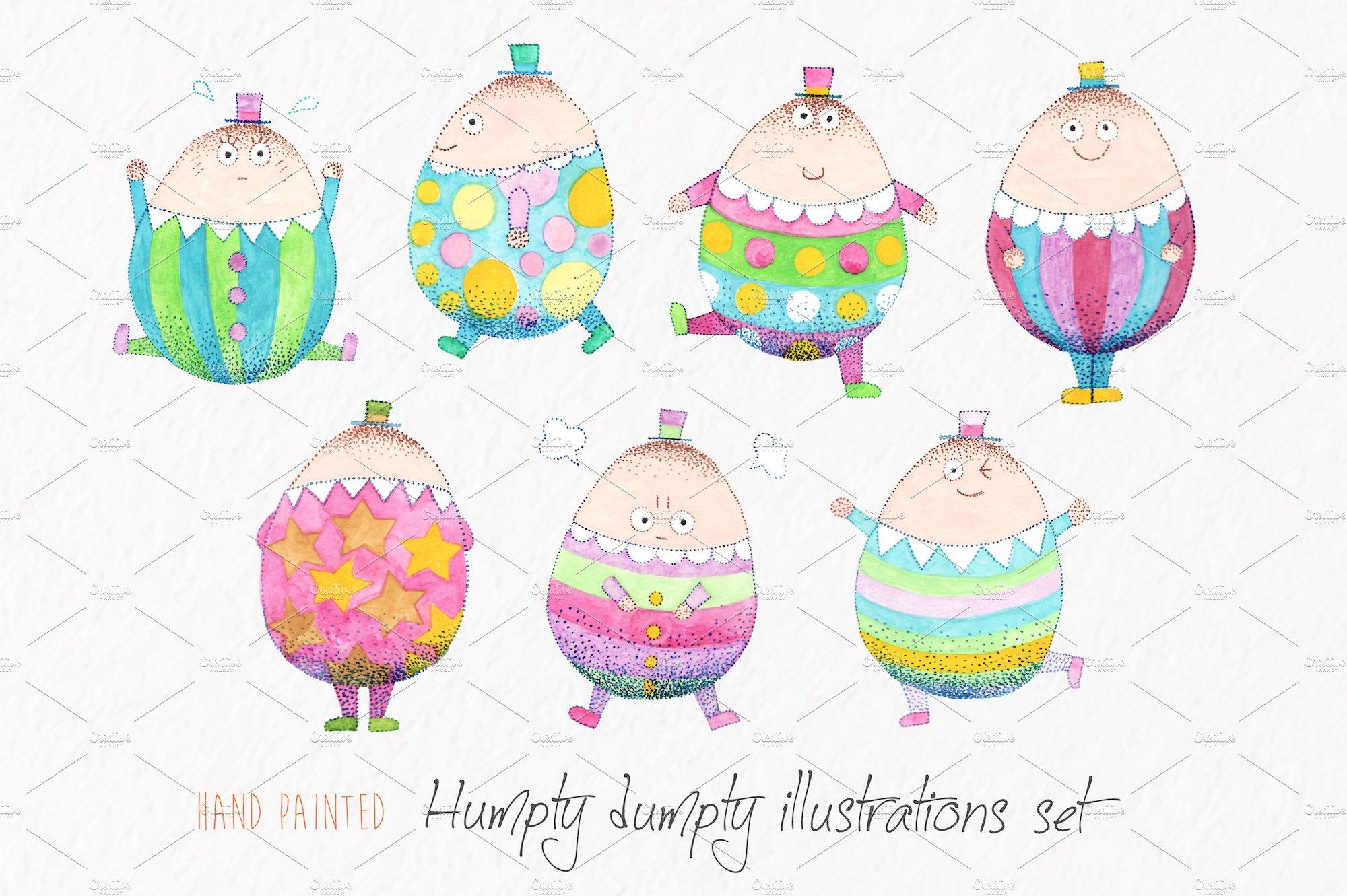 Watercolor Humpty Dumpty Clip Art Illustrations Creative Market