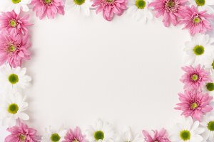 Frame made of white and pink flowers