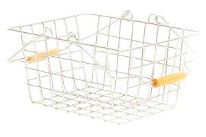 Empty Shopping Basket On White, Diagonal View