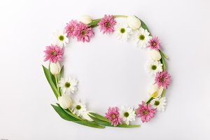 Green composition with white and pink flowers