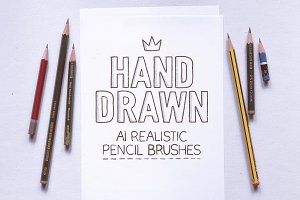 AI handmade realistic pencil brushes