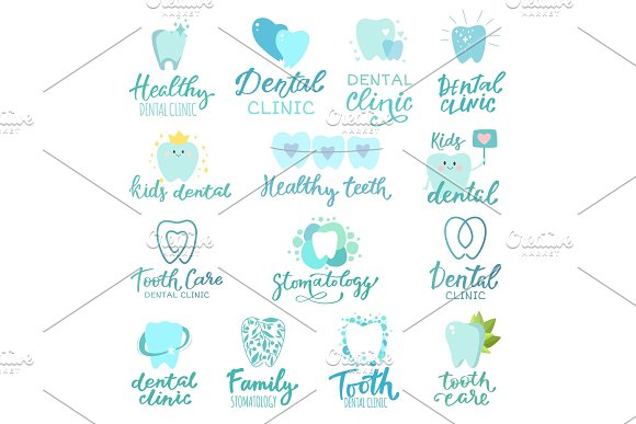 Tooth dental logo vector dentist clinic lettering toothcare icon stomatology text letter dentistry care logotype set illustration isolated on white background