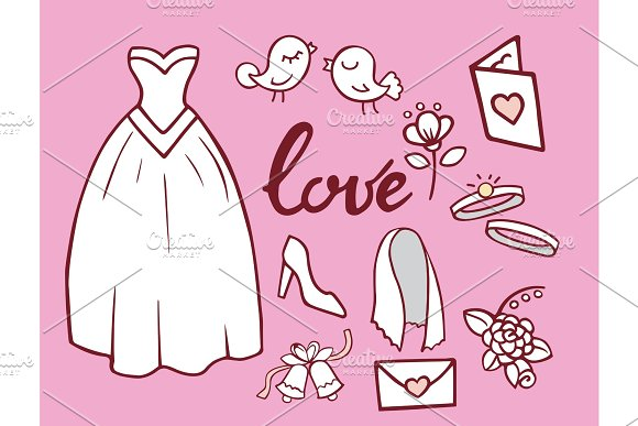 wedding outline hand drawn icons vector illustration married