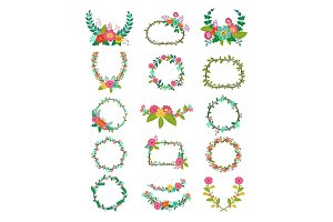 Wreath vector wreathed flowers and floral decorations to decorate or wreathe flowered frame with wreathen leaves for wedding greeting card illustration isolated on white background set