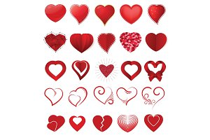 Heart on valentines day in love vector lovely red sign on hearted celebration and greeting card with loving and heartiness set illustration isolated on white background