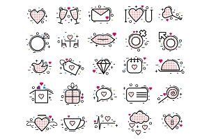 Valentines day icons vector heart in love and lovely red sign on hearted celebration and greeting card with loving and heartiness set illustration isolated on white background