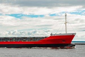 Red cargo ship
