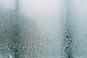 drops of water on the window glass, close-up