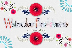 Watercolor Floral elements & more
