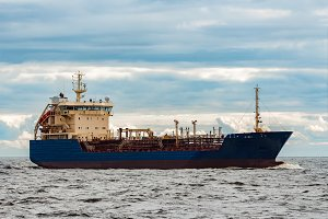 Blue cargo tanker ship