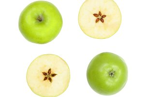 green apples with slices isolated on white background top view. Set or collection. Flat lay pattern