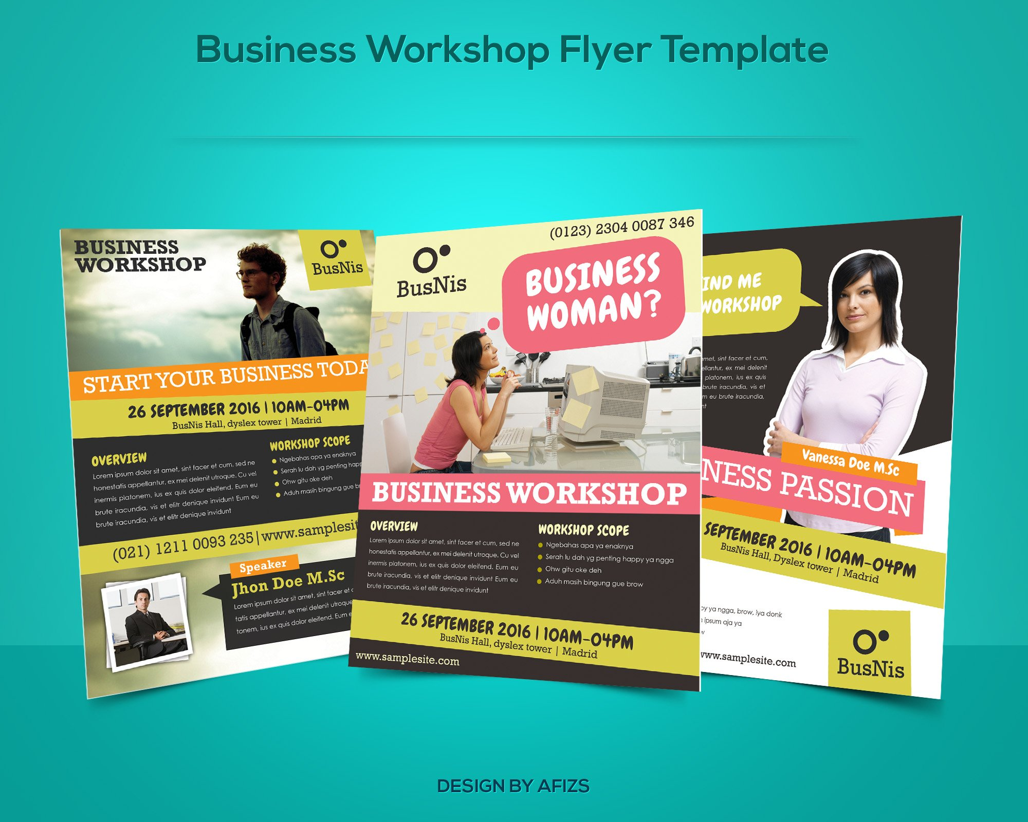 business workshop promotion flyer flyer templates creative market. Black Bedroom Furniture Sets. Home Design Ideas
