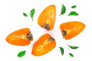 persimmon isolated on white background. Top view. Flat lay pattern