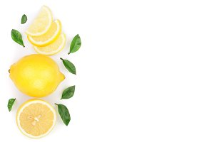 lemon and slices with leaf isolated on white background with copy space for your text. Flat lay, top view