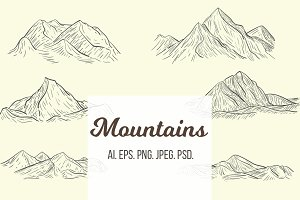 Set sketches of mountains