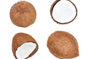 whole coconut with half isolated on white background. Flat lay. Top view
