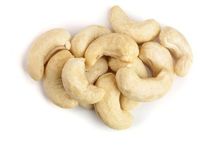 cashew nuts isolated on white background. top view. Flat lay
