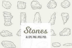 Collection of vector stones