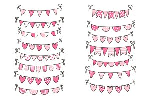 Cute Valentine love buntings clipart