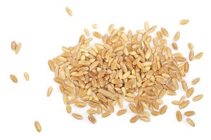 wheat grains isolated on white background. Top view. Flat lay