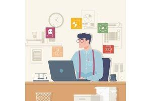 Online security, data protection, antivirus software, cloud computing.Flat vector illustration