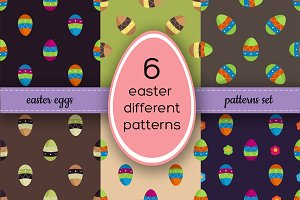 6 vector Easter eggs pattern set