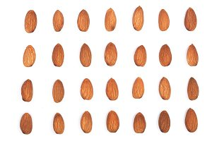 almonds isolated on white background. Flat lay pattern. Set or collection