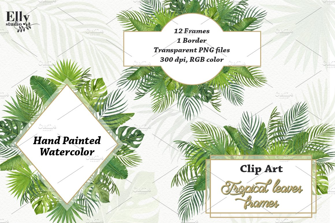 Tropical Leaves Frames Pre Designed Photoshop Graphics Creative Market Seeking more png image palm tree leaves png,tropical leaf png,leaf frame png? tropical leaves frames pre designed