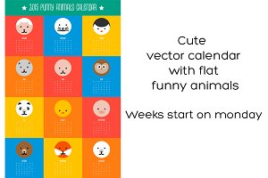 2015 vector cute animals calendar