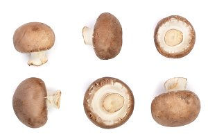 Fresh champignon mushrooms isolated on white background. Top view. Flat lay. Set or collection
