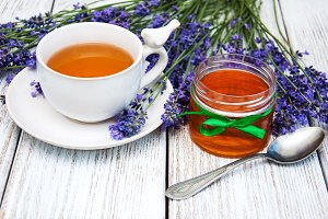 Cup of tea and lavender