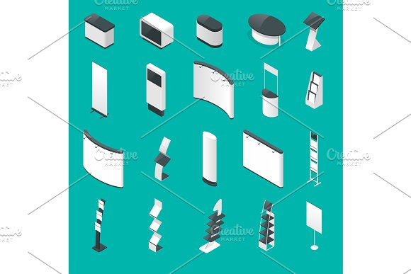 Isometric set of promotional stands or exhibition standands, handout on blue background isolated vector illustration