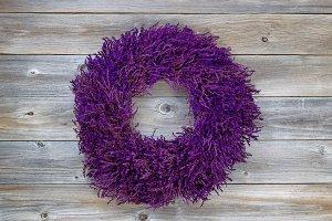 Lavender Wreath on old cedar wood
